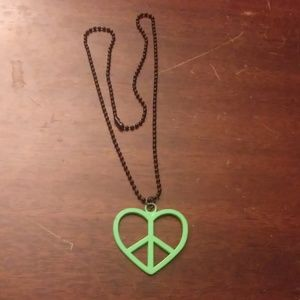 Green peace sign heart necklace